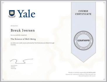 YALE Certificate - Breuk Iversen