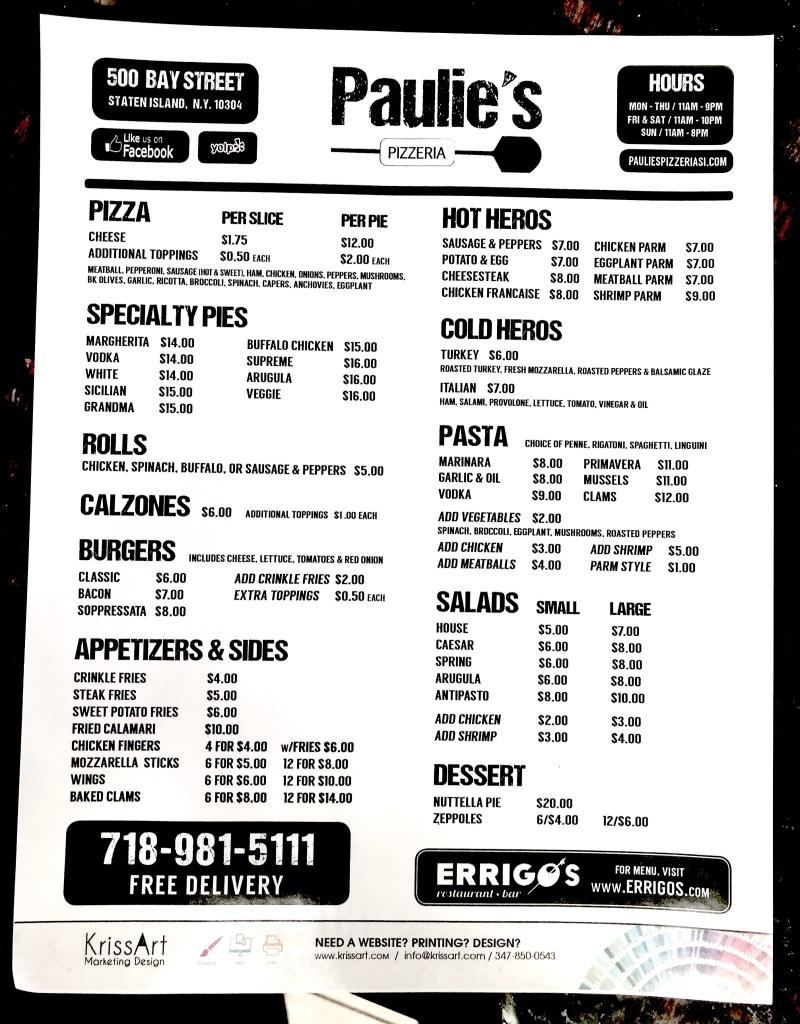Paulie's Pizzeria menu